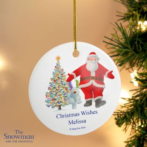 Personalised The Snowman and the Snowdog Father Christmas Round Ceramic Decoration